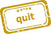 stock photo of quit  - business quit stamp isolated on white background - JPG