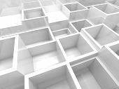 stock photo of cell block  - Abstract empty 3d interior fragment with white square cells - JPG