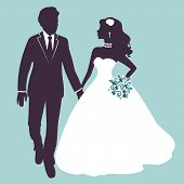 foto of bridal veil  - Elegant wedding couple in silhouette - JPG