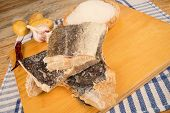 pic of cod  - Dried cod and ingredients to prepare a traditional fish recipe - JPG