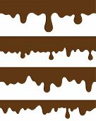 stock photo of strip  - seamless strips melted chocolate - JPG