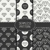 pic of wallpaper  - Set of monochrome hipster fashion geometri seamless pattern with diamond - JPG
