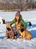 image of pit-bull  - Young woman with two dogs of breed American Pit Bull Terrier winter - JPG