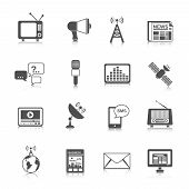 stock photo of tv sets  - Media global network connection icons black set with newspaper globe tv isolated vector illustration - JPG