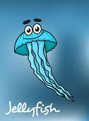 stock photo of jellyfish  - Cartoon cute blue jellyfish character with flowing long tentacles on dark blue blurred background with caption Jellyfish for underwater life concept design - JPG