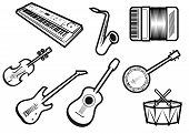stock photo of banjo  - Outline sketch acoustic and electric musical instruments with guitars - JPG