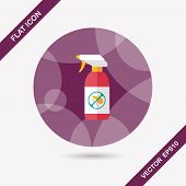 pic of flea  - Pet Flea Spray Flat Icon With Long Shadow - JPG