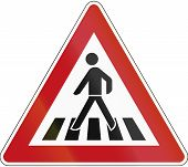 picture of pedestrian crossing  - German sign warning about a pedestrian crossing - JPG