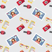 stock photo of mass media  - Seamless pattern of of flat vector journalism icons - JPG