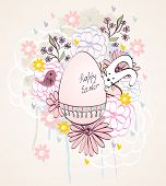 picture of bunny rabbit  - Bunny rabbit with Easter eggs surrounded by flowers - JPG