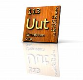 Ununtrium Periodic Table Of Elements - Wood Board poster