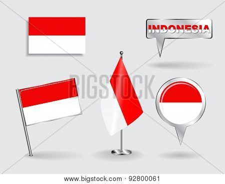 Set of Indonesian pin, icon and map pointer flags. Vector