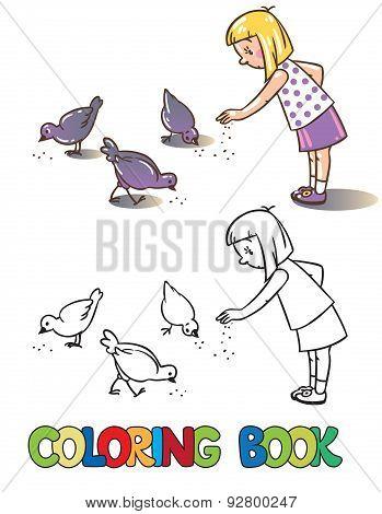 Girl feeding pigeons. Coloring book