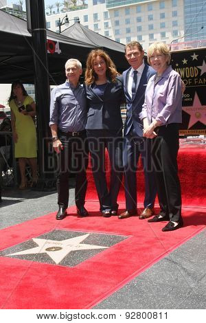 LOS ANGELES - JUN 2:  Bob Tuschman, Susie Fogelson, Brooke Johnson at the Bobby Flay Hollywood Walk of Fame Ceremony at the Hollywood Blvd on June 2, 2015 in Los Angeles, CA