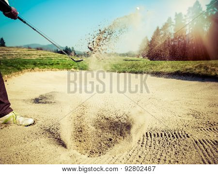 The Golf Course Is On The Sand. Sand Making Splashes