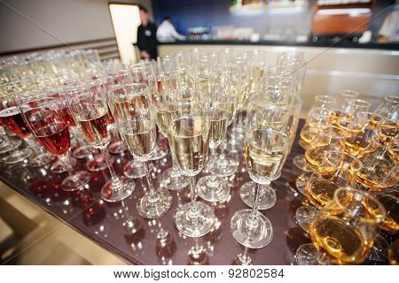 Wine, Champagne, Cognac Glasses On Wedding Reception
