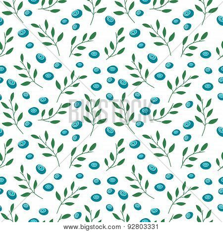 Seamless pattern with blueberries and leaves. Simple colors. Vector.