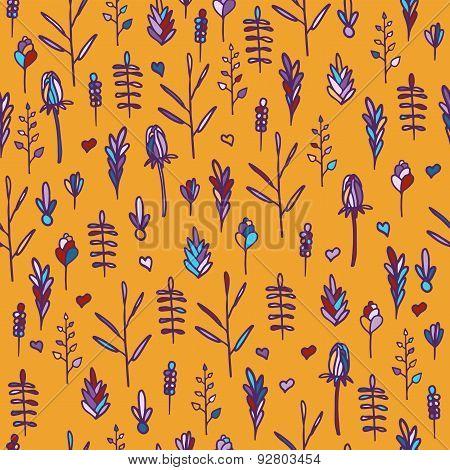 Seamless floral pattern on orange background. Vertical orientation. Doodle style. Vector.