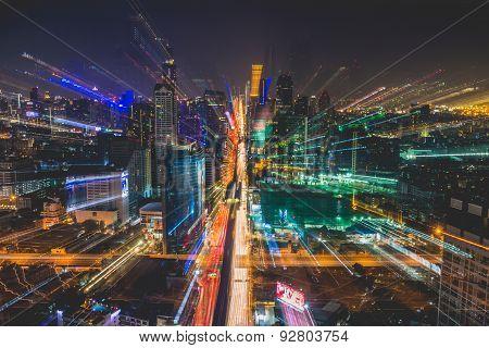Landscape of Bangkok city at night
