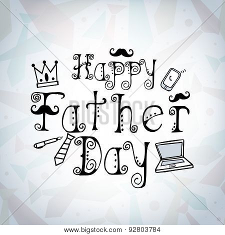 Stylish text Happy Father's Day with different elements on shiny background, can be used as greeting o invitation card design.