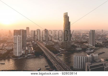 Landscape of Bangkok city in afternoon with bird view