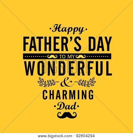 Elegant greeting or invitation card design in yellow color for wonderful charming Dad on occasion of Happy Father's Day celebration.