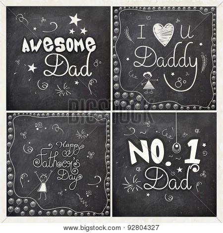 Creative greeting card set with different compliments on chalkboard background for Happy Father's Day celebration.