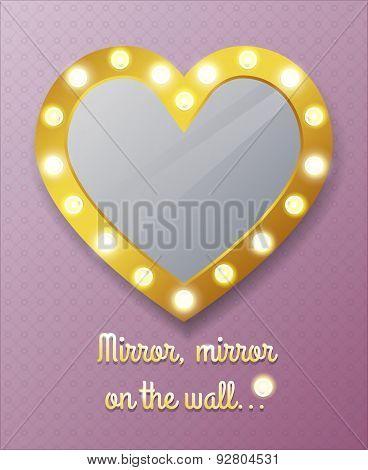 Mirror in shape of heart on wall