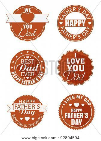 Stylish tag, label or badge set for Happy Fathers Day celebrations.