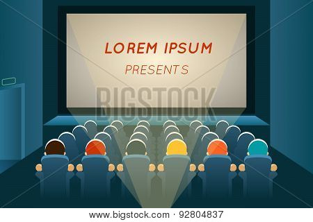 People watching film in cinema