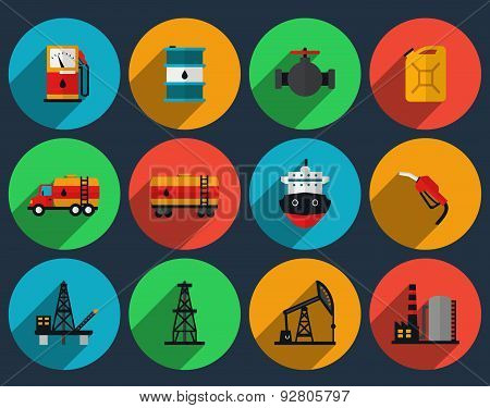Oil production set vector