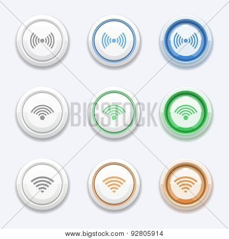 Vector button with wifi or wireless icon