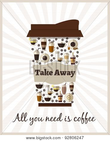 Take-out or takeaway coffee poster