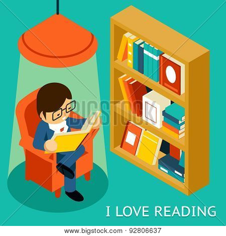 I love reading, 3d isometric illustration