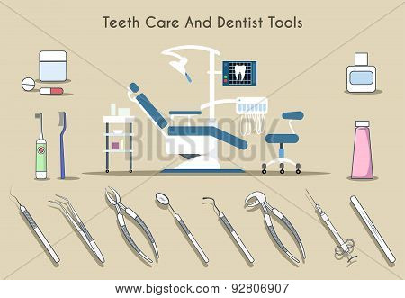Teeth care and dentist tools