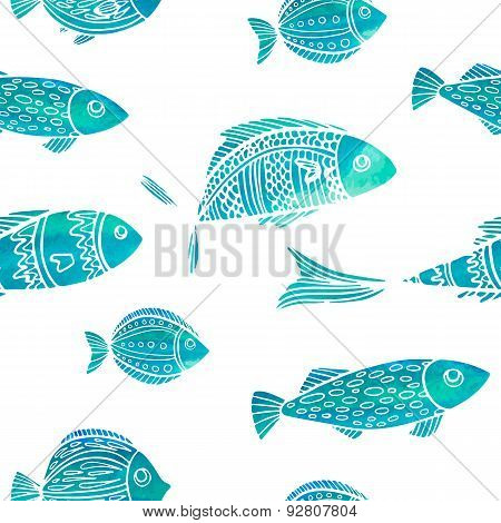 Seamless pattern with watercolor fish. Doodle style. Vector.