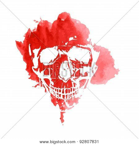 Print of a human skull on a red spot watercolor. Vector.