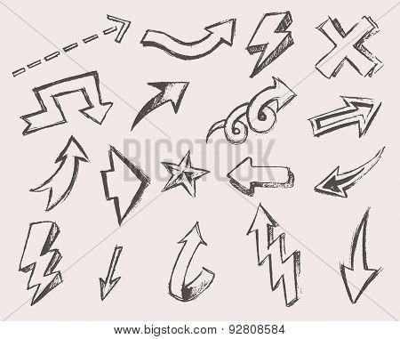 Arrows Set Vector  Hand Drawn Sketched Design