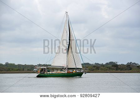 yacht Sailing on the river