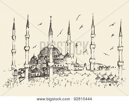 Istanbul, Turkey, Vintage Engraved Sketch Vector