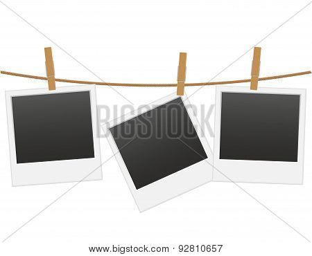 Retro Photo Frame Hanging On A Rope With Clothespin Vector Illustration