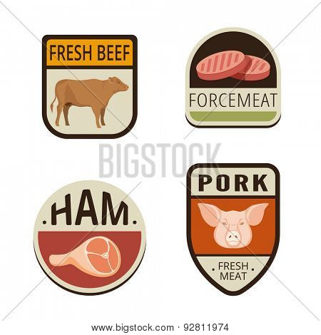 Fresh Meat butchery Vintage Labels vector icon design collection. Shield banner sign. Food Logos. Beef, Pork, Ham, Force-meat flat icons.