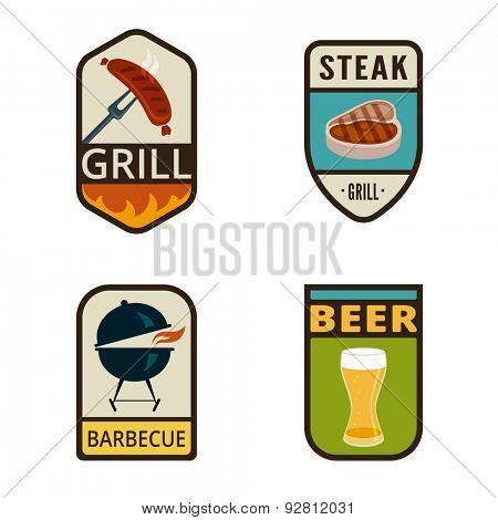 BBQ Grill Vintage Labels vector icon design collection. Shield banner sign. Barbeque Cooking Logos. Sausage, Glass of Beer, Roaster, Steak flat icons.