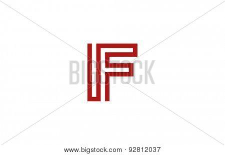 Letter F Logo vector alphabet design element template. ABC concept type as logotype. Typography icon line art