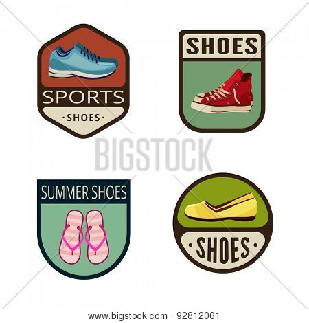 Shoes Vintage Labels vector icon design collection. Shield banner sign. Footwear Logos. Running shoes, gym-shoes, thong, female shoes flat icons.