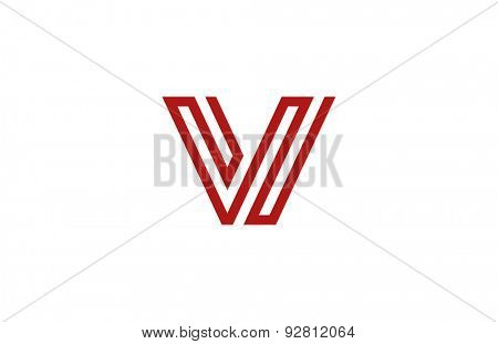 Letter V Logo vector alphabet design element template. ABC concept type as logotype. Typography icon line art