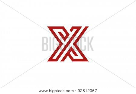 Letter X Logo vector alphabet design element template. ABC concept type as logotype. Typography icon line art