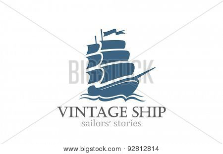 Vintage Ship Logo Sailing Boat design vector template. Ancient Pirate Sailboat Logotype silhouette concept icon.
