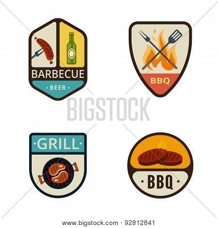 BBQ Grill Vintage Labels vector icon design collection. Shield banner sign. Barbeque Cooking Logos. Sausage, Beer, Fire Flame, Pan, Steak flat icons.