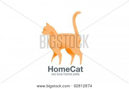 Logo Cat Walking design vector template. Logotype Kitty standing. Home pet icon concept.